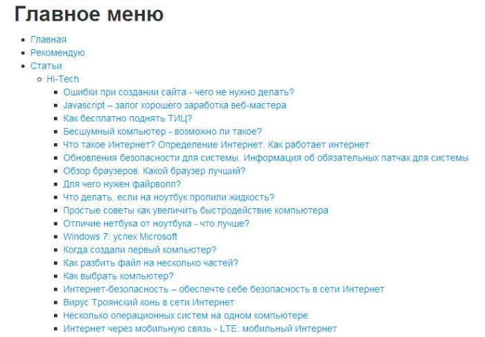 HTML карта сайта - карта сайта для joomla 2.5, joomla 3.0