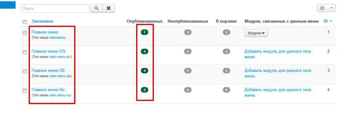 Менеджер меню в joomla 3. Как создать мультиязычный сайт на joomla3?