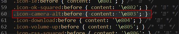 Код иконки Fontello в css
