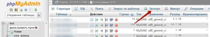 Экспорт таблиц базы данных в PhpMyAdmin