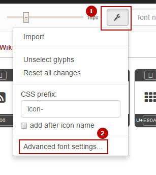 Advanced font settings Fontello