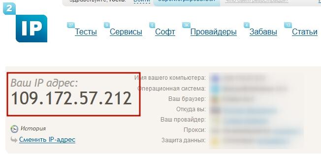 Узнать свой IP-адрес на сайте 2ip.ru